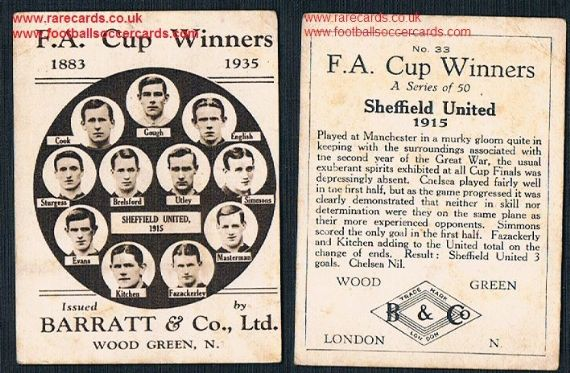 1935 Barratt F A Cup Winners 33 Sheffield United 1915 football card